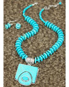 Isac West Women's Native Turquoise Necklace and Earrings Set