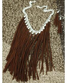 Isac West Women's Coffee Fringe Necklace and Earrings Set
