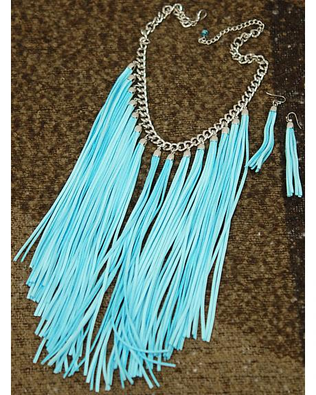 Isac West Women's Turquoise Fringe Necklace and Earrings Set