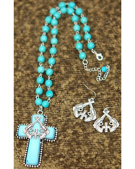 Isac West Women's Cross Pistols Pendant Necklace and Earrings Set