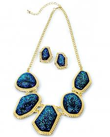 Ethel & Myrtle Glitter Stones Necklace and Earrings Set