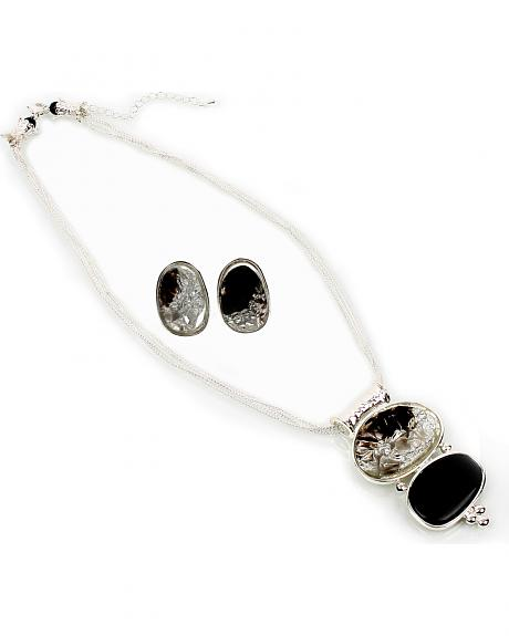 Ethel & Myrtle Foiled Stone Necklace and Earrings Set