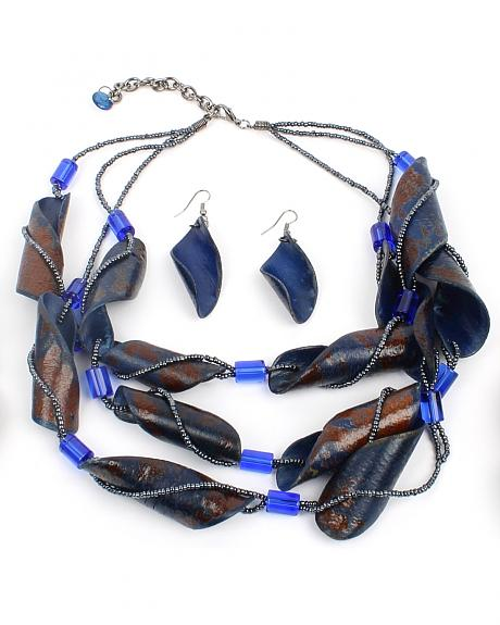 Ethel & Myrtle Blue Ribbon Necklace and Earrings Set