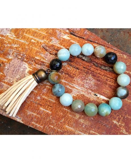 2 Queen B's Amazonite Faceted Stretch Bracelet with Tassel