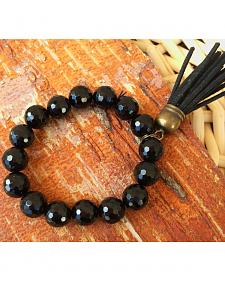 2 Queen B's Agate Faceted Black Stretch Bracelet with Tassel
