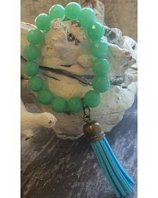 2 Queen B's Mint Jade Stretch Bracelet with Tassel