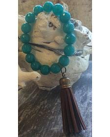 2 Queen B's Ocean Jade Stretch Bracelet with Tassel