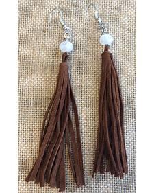 2 Queen B's Suede Fringe Tassel Earrings with Crystal