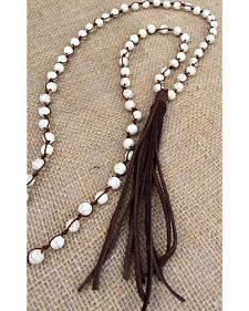 2 Queen B's Bohemian Bone Knotted Leather Necklace