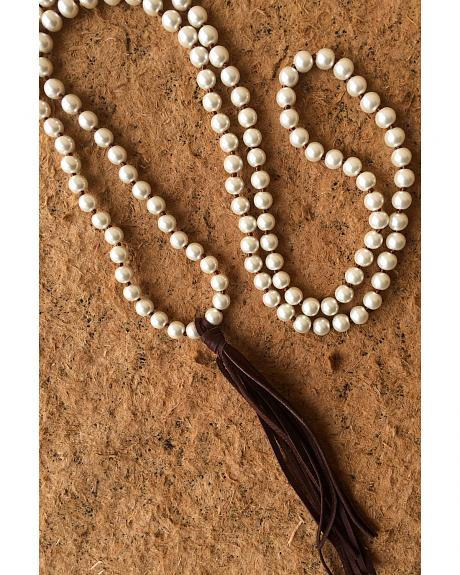 2 Queen B's Bohemian Glass Pearl Necklace with Tassel