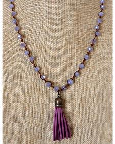 2 Queen B's Gypsy Lavender Knotted Faceted Necklace with Tassel