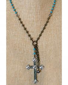 2 Queen B's Vegas Gal Tri-color Necklace with Swarovksi Cross
