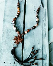 Jewelry Junkie Coffee Agate Beaded Necklace with Long Leather Fringe