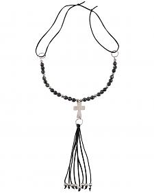 Jewelry Junkie Black Labradorite Beaded Necklace with Long Leather Fringe