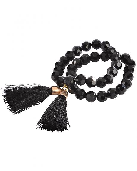 Jewelry Junkie Black Faceted Glass Bead Double Strand Bracelet