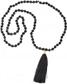 Jewely Junkie Black Faceted Glass Beaded Necklace with Fringe Tassel