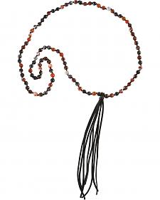 Jewelry Junkie Red Tiger's Eye Beaded Necklace with Black Fringe Tassel