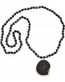 Jewelry Junkie Black Faceted Glass Beaded Necklace with Black Agate Slab