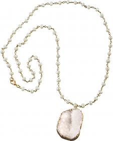 Jewelry Junkie White Druzy on White Iridescent Beaded Necklace