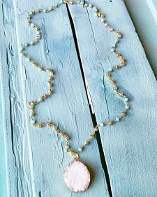 Jewelry Junkie White Druzy on Iridescent Beaded Necklace
