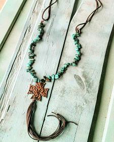 Jewelry Junkie Hammered Cross on African Turquoise Necklace