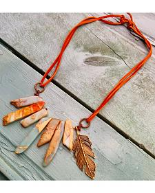 Jewelry Junkie Aqua Terra Leather Cord Necklace with Feather