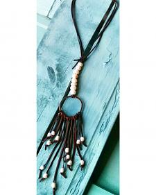 Jewelry Junkie Leather and Pearl Boho Necklace with Pearl Fringe