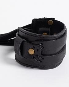 Jewelry Junkie Black Distressed Western Cuff with Fringe