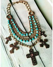 Jewelry Junkie Antique Gold Layered Necklace with Turquoise Chain & Multi-Cross