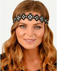 Pink Pewter Diamond Shaped Beaded Stretch Headband