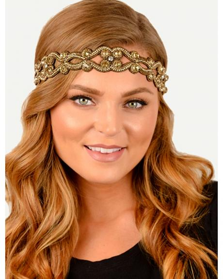 Pink Pewter Gold Hand Beaded Winfrey Stretch Headband