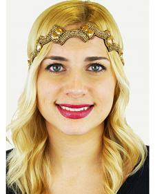 Pink Pewter Gold Hand Beaded Kerina Detachable Stretch Headband