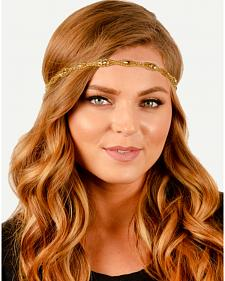 Pink Pewter Gold Hand Beaded Shauna Stretch Headband