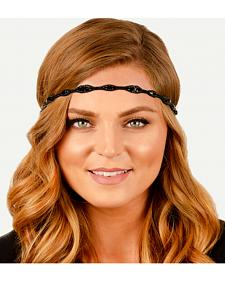 Pink Pewter Black Hand Beaded Shauna Stretch Headband