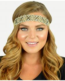 Pink Pewter Gold Hand Beaded Sienna Stretch Headband