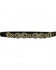 Pink Pewter Black Hand Beaded Tibby Stretch Headband