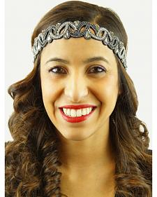 Pink Pewter Slate Hand Beaded Tracy Stretch Headband