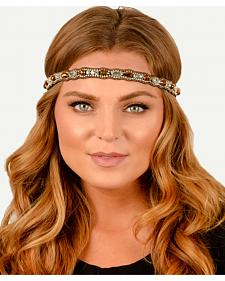 Pink Pewter Copper Hand Beaded Rosie Stretch Headband