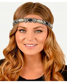 Pink Pewter Slate Hand Beaded Avie Stretch Headband