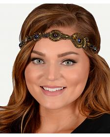 Pink Pewter Bronze Hand Beaded Danica Stretch Headband