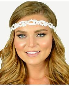 Pink Pewter White Leaf Shaped Beaded Elle Stretch Headband
