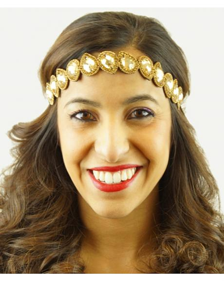 Pink Pewter Gold Hand Beaded Millie Stretch Headband