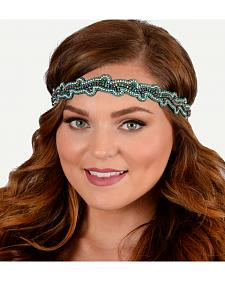 Pink Pewter Teal Hand Beaded Charlotte Stretch Headband