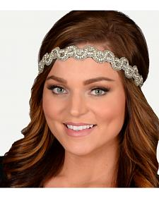 Pink Pewter Silver Hand Beaded Darlene Stretch Headband