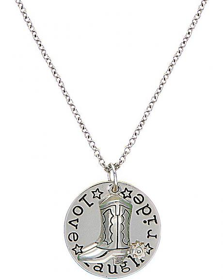 Montana Silversmiths Cowgirl Coin Charm Love, Laugh, Ride Necklace