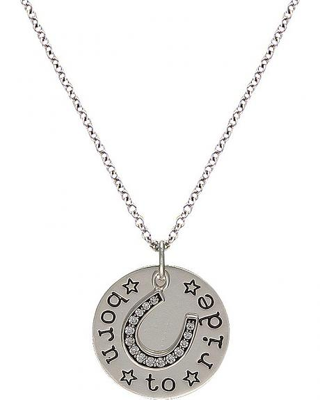 Montana Silversmiths Cowgirl Coin Charm Born to Ride Necklace
