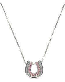 Montana Silversmiths Silver Tone & Pink Nested Horseshoes Necklace