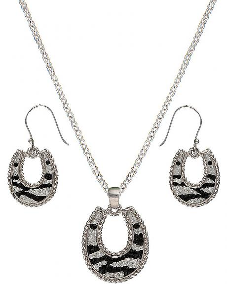 Montana Silversmiths Candied Collection Horseshoes with Zebra Stripes Jewelry Se