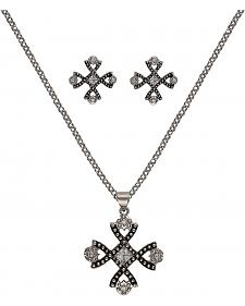 Montana Silversmiths Antiqued Crystal Braided Cross Jewelry Set