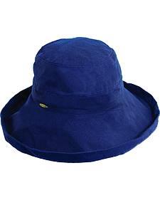 Scala Women's Navy Cotton Wide Brim Sun Hat